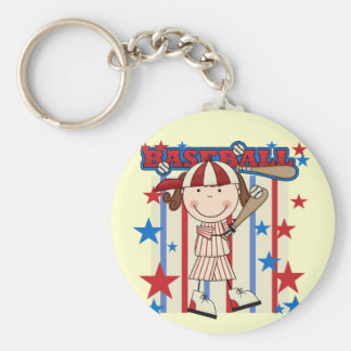 BASEBALL Brunette Girl Tshirts and Gifts Basic Round Button Key Ring