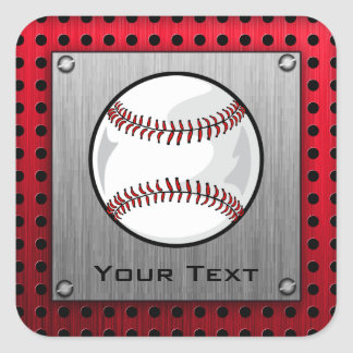Baseball; Brushed Aluminum look Square Sticker