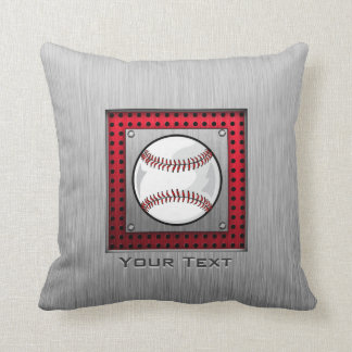 Baseball; Brushed Aluminum look Throw Pillow