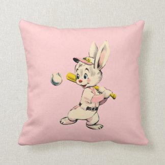 Baseball Bunny In Pink Throw Pillows