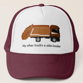 baseball cap, brown garbage truck trucker hat