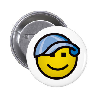 Baseball Cap Smilie - Blue 6 Cm Round Badge