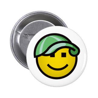 Baseball Cap Smilie - Green 6 Cm Round Badge