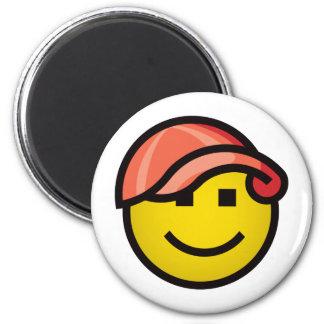 Baseball Cap Smilie - Red 6 Cm Round Magnet