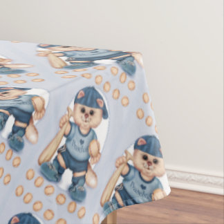 "BASEBALL CAT Tablecloth COLOR LIPS 60""x104"""