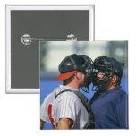 Baseball Catcher and Umpire Arguing Pin