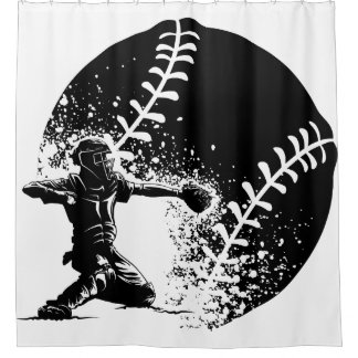 Baseball Catcher at Home Plate With a Grunge Ball Shower Curtain