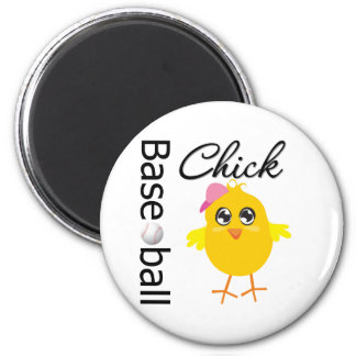 Baseball Chick 6 Cm Round Magnet