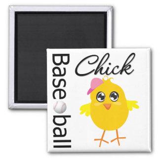 Baseball Chick Square Magnet