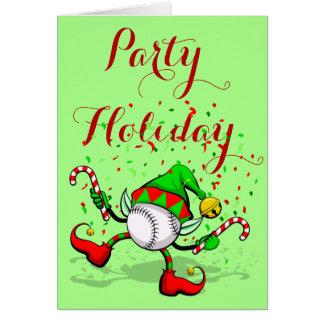 Baseball Christmas Elf with Confetti Greeting Card