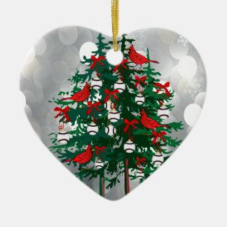 Baseball Christmas Tree with Red Birds Christmas Tree Ornament