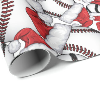 Baseball Christmas with Santa Hats Wrapping Paper