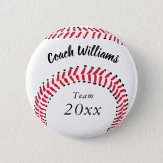 Baseball Coach Add Name, Team and Year 6 Cm Round Badge