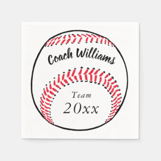Baseball Coach Add Name, Team and Year Disposable Napkin
