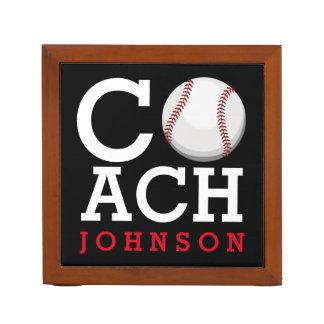 Baseball Coach Custom Name Desk Organiser