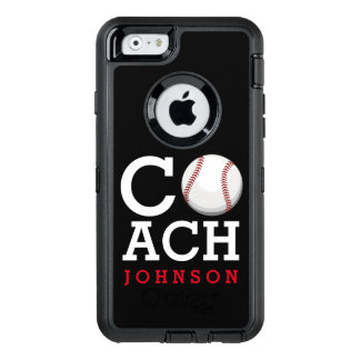 Baseball Coach Custom Name OtterBox Defender iPhone Case