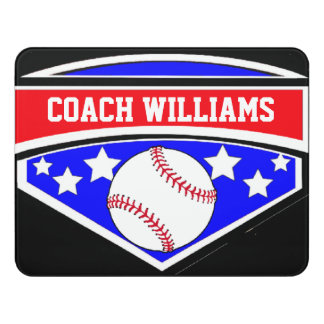 Baseball Coach Red White and Blue Star Emblem Door Sign