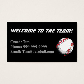 Baseball Coaches Contact card