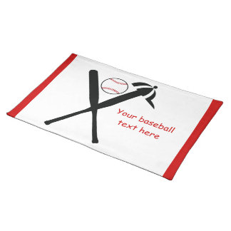 Baseball crossed bats and cap black, red custom place mats
