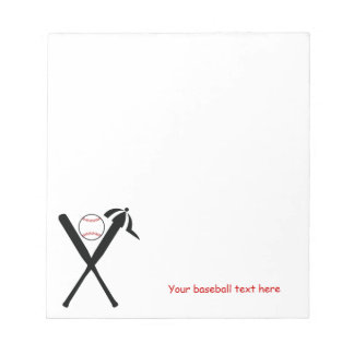 Baseball crossed bats and cap black, red custom notepad