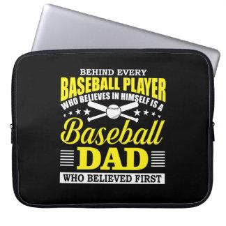 Baseball Dad Believes In Baseball Player Laptop Sleeve