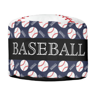 Baseball Dark Blue and Black Sport Pattern Pouf
