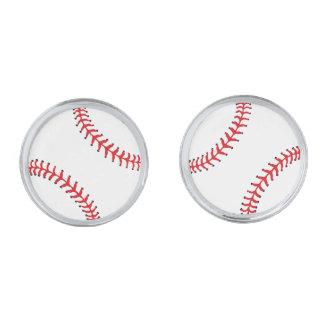 Baseball Design Cuff Links Silver Finish Cufflinks