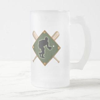 Baseball Diamond Fielding 1 16 Oz Frosted Glass Beer Mug