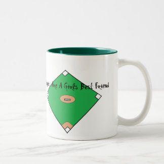 Baseball Diamonds Are A Girls Best Friend Two-Tone Mug