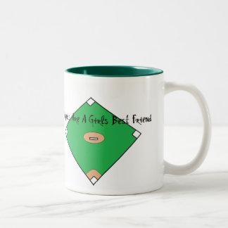 Baseball Diamonds Are A Girls Best Friend Two-Tone Coffee Mug