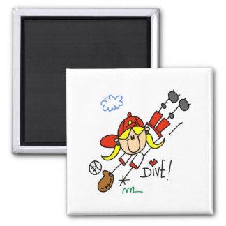 Baseball Dive Girls Softball T-shirts and Gifts Square Magnet