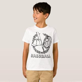 Baseball emblem with bat, glove, cap and ball T-Shirt