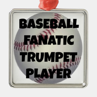 Baseball Fanatic Trumpet Player Silver-Colored Square Decoration