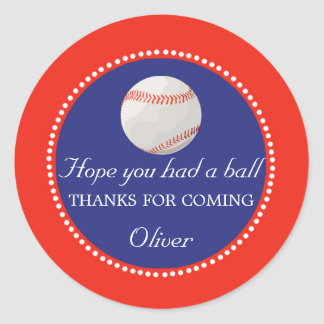 Baseball Favour Label Thank You Sticker
