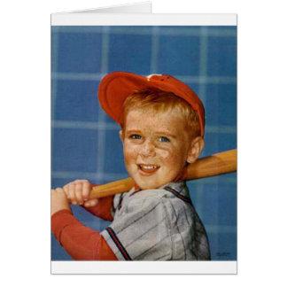Baseball game, boy,dog greeting card