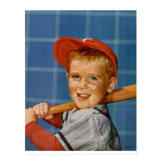 Baseball game, boy,dog postcard