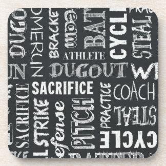 Baseball Game Chalkboard Words Beverage Coaster