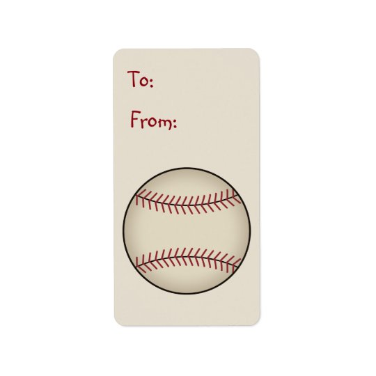 Baseball Gift Tag Label Address Label