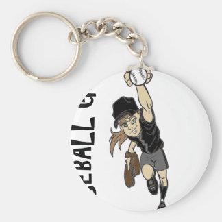 BASEBALL GIRL BASIC ROUND BUTTON KEY RING