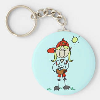Baseball Girl With Glove Tshirts and Gifts Basic Round Button Key Ring