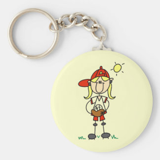 Baseball Girl With Glove Tshirts and Gifts Key Chain