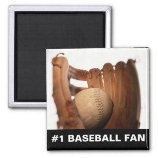 Baseball Glove & Ball Square Magnet