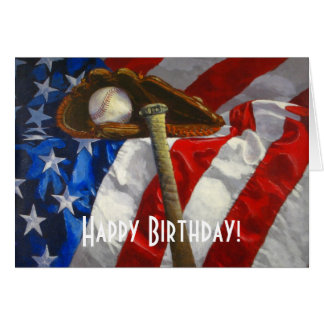 Baseball, glove, bat & American flag birthday card