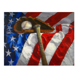 Baseball, glove, bat & American flag Postcard