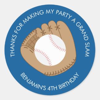 Baseball Glove Birthday Party Classic Round Sticker