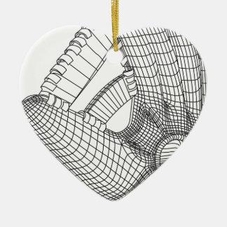 baseball glove ceramic heart decoration