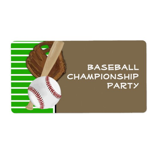 Baseball Green/Brown Shipping Label
