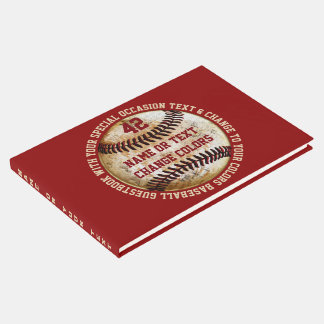 Baseball Guest Book with Your Text and Colours