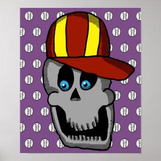 Baseball Hat Skull Poster