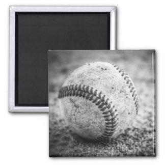 Baseball in Black and White Square Magnet